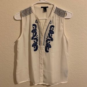Forever21 chiffon top with embroidery detailing
